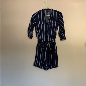 Vici blue with white stripes romper, button up.